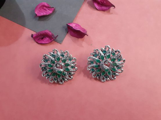 Big Round Oxidised Silver Green Stone Peacock Earring