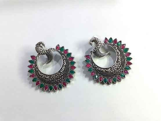 Oxidised Silver Ruby Green Stone Round Peacock Earring
