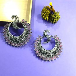 Oxidised Silver Pink Stone Round Peacock Earring
