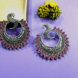 Oxidised Silver Ruby Stone Round Peacock Earring