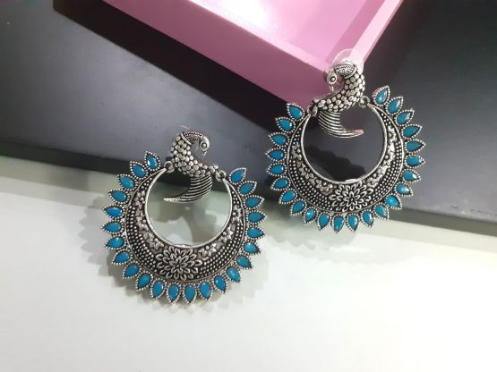 Oxidised Silver Firoza Stone Round Peacock Earring
