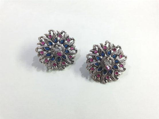 Big Round Oxidised Silver Ruby Blue Stone Peacock Earring
