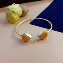 Matt Gold Plated Adjustable Kada Bracelet adorned with Yellow Stone
