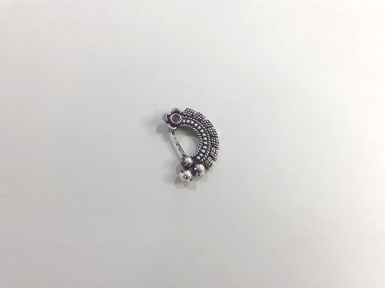 Traditional Oxidized Silver Nose Pin with Ruby Stone