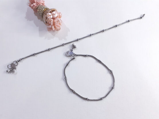 Ethnic Oxidised Plated Beaded Anklet Pair