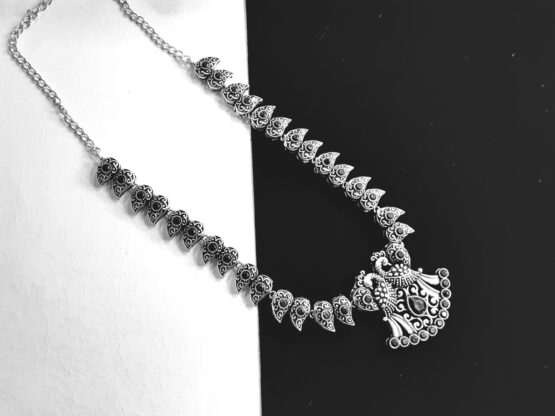Mrigangi Oxidised Silver Plated Peacock Necklace