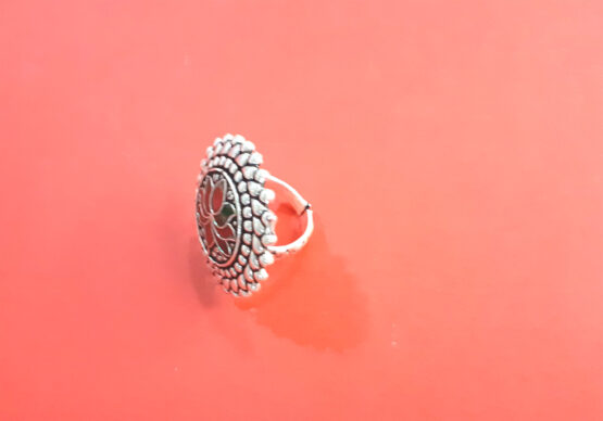 Lotus Oxidized Silver Adjustable Alloy Finger Ring (Ruby Green)