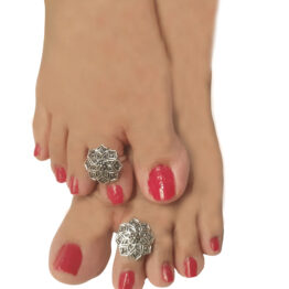 Stunning Oxidised Silver Floral Toe Ring Set